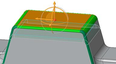 Grafika przedstawiająca przesuwanie ściany modelu z wykorzystaniem Creo Flexible Modeling.