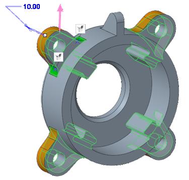 Grafika przedstawiająca edytowanie istniejąego szyku geometrii za pomocą Creo Flexible Modeling.