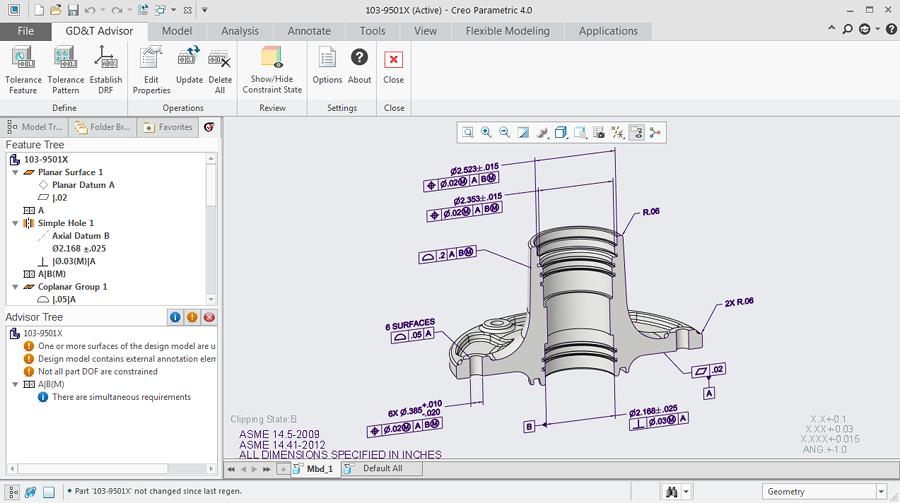 Grafika przedstawiająca interfejs rozszerzenia Creo GD&T Advisor.