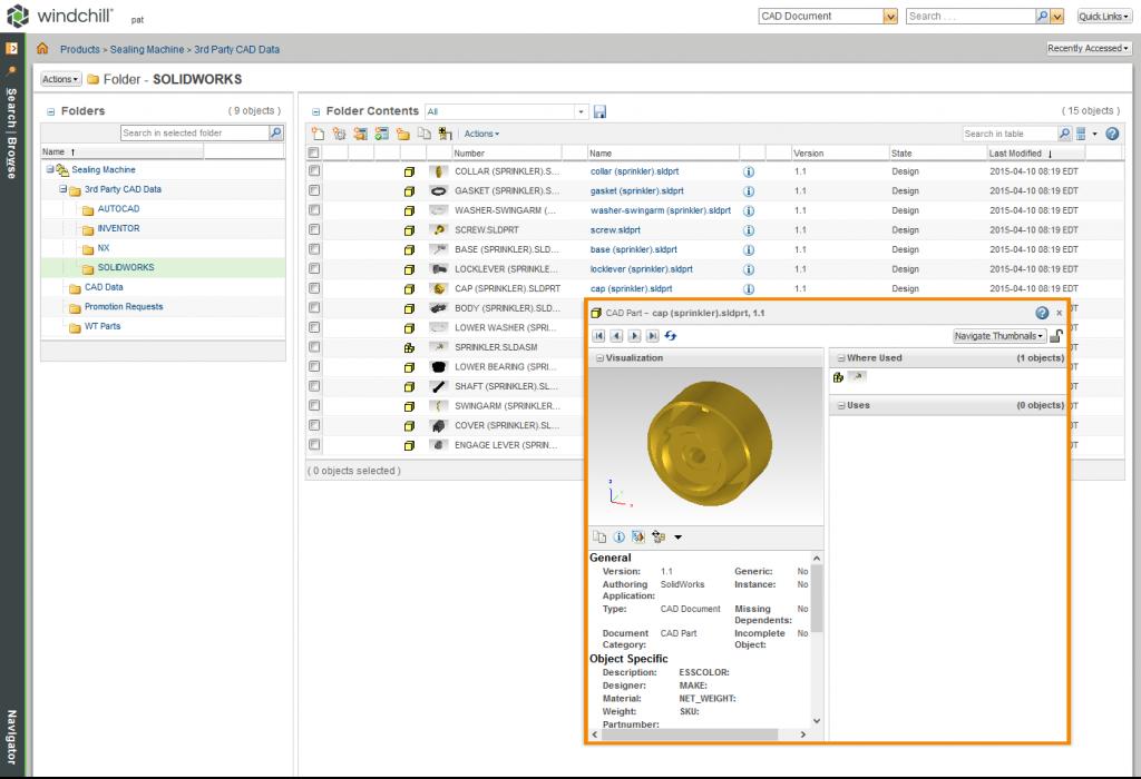 Grafika przedstawiająca możliwości systemu Windchill PDMLink z zakresu zarządzania danymi z różnych systemów CAD.