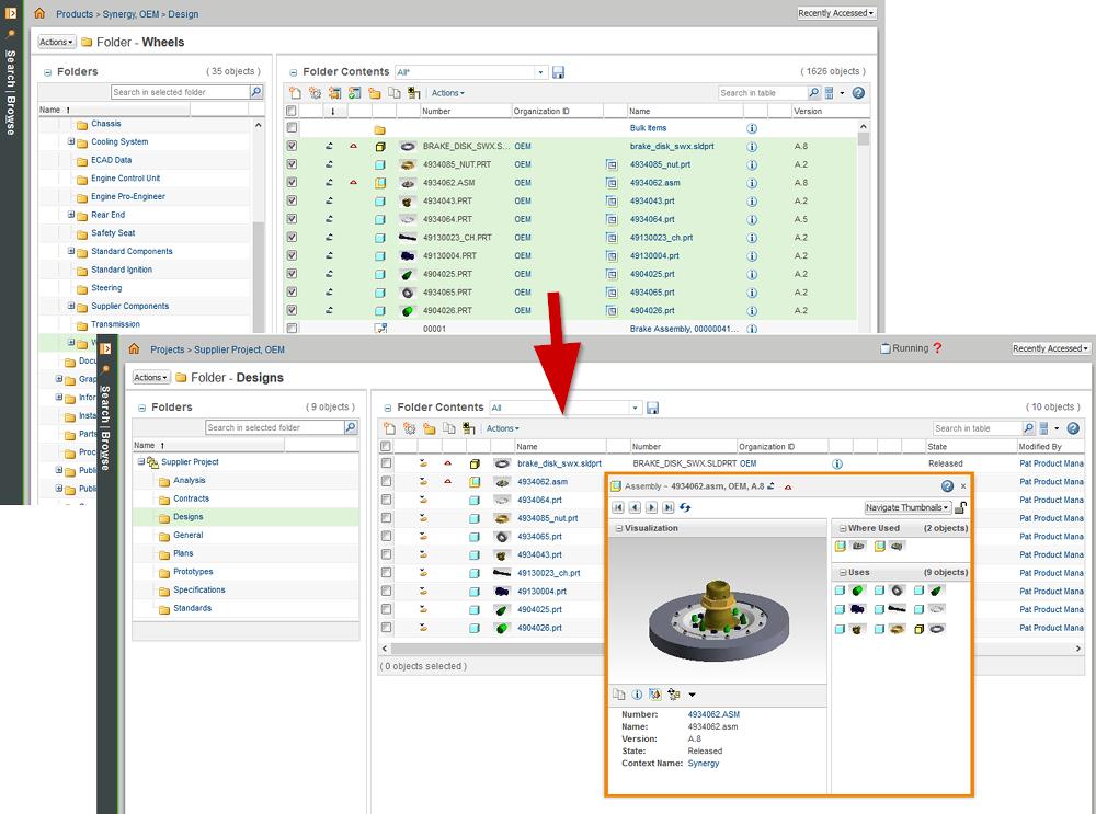 Grafika przedstawiająca udostępnianie do Windchill ProjectLink danych CAD z aplikacji PDM.