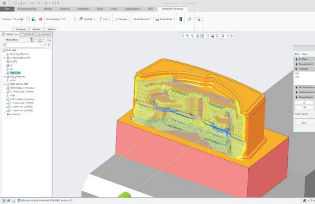 Rysunek przedstawiający symulację usuwania materiału półfabrykatu w zabiegu szybkiej obróbki przygotowanym w Creo Mold Machining.