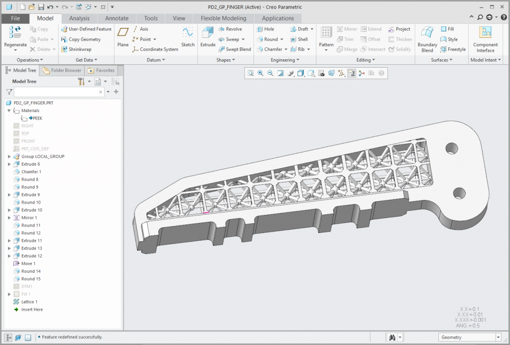Grafika przedstawiająca model zaprojektowany do wydruku 3D.