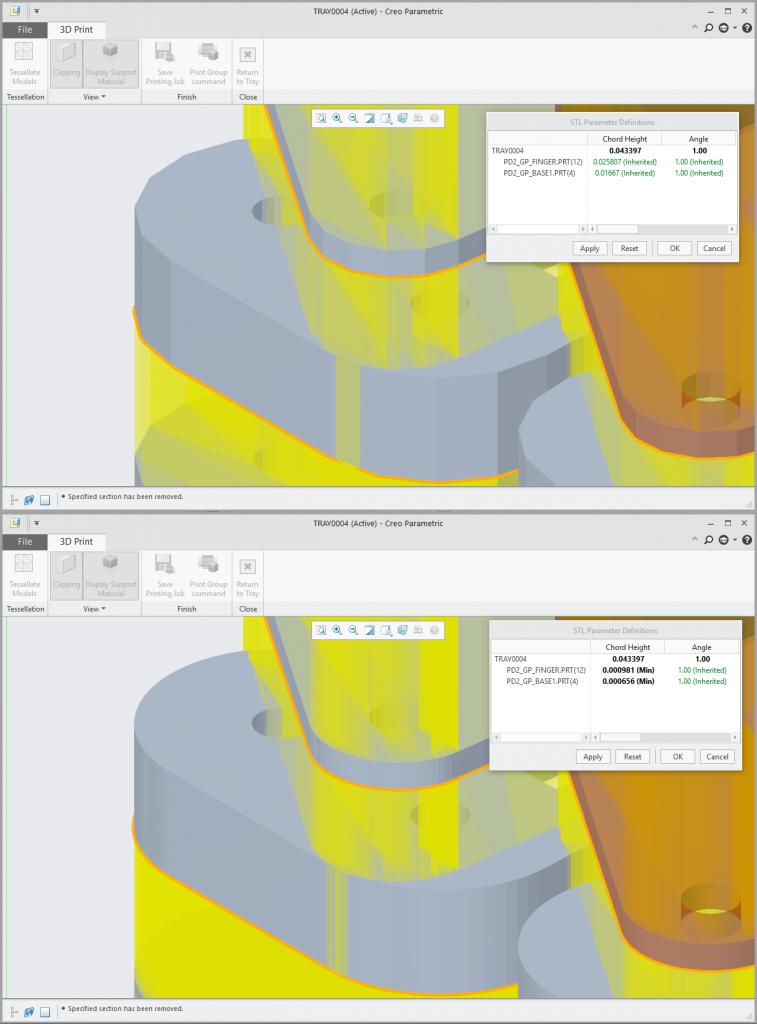 Grafika przedstawiająca podgląd geometrii modelu przed i po edycji parametrów STL.