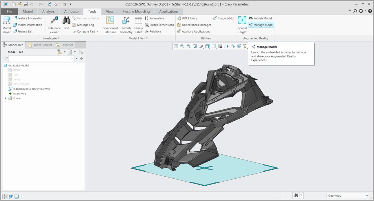 Grafika przedstawiająca publikowanie modelu do AR z poziomu Creo Parametric.