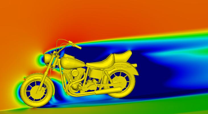 Grafika przedstawiająca analizę przepływu powietrza wokół motocykla.