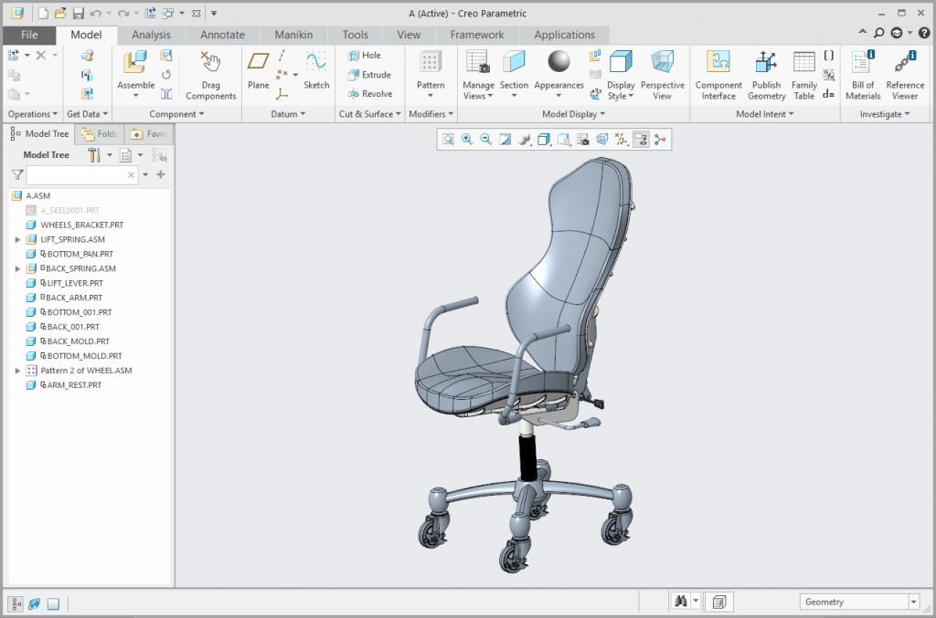 Grafika przedstawiająca model krzesła biurowego.