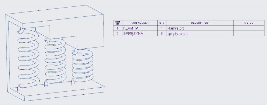 Grafika przedstawiająca tabelę wykazu części.