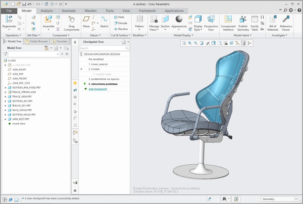 Grafika przedstawiająca zmieniony model podstawy krzesła.