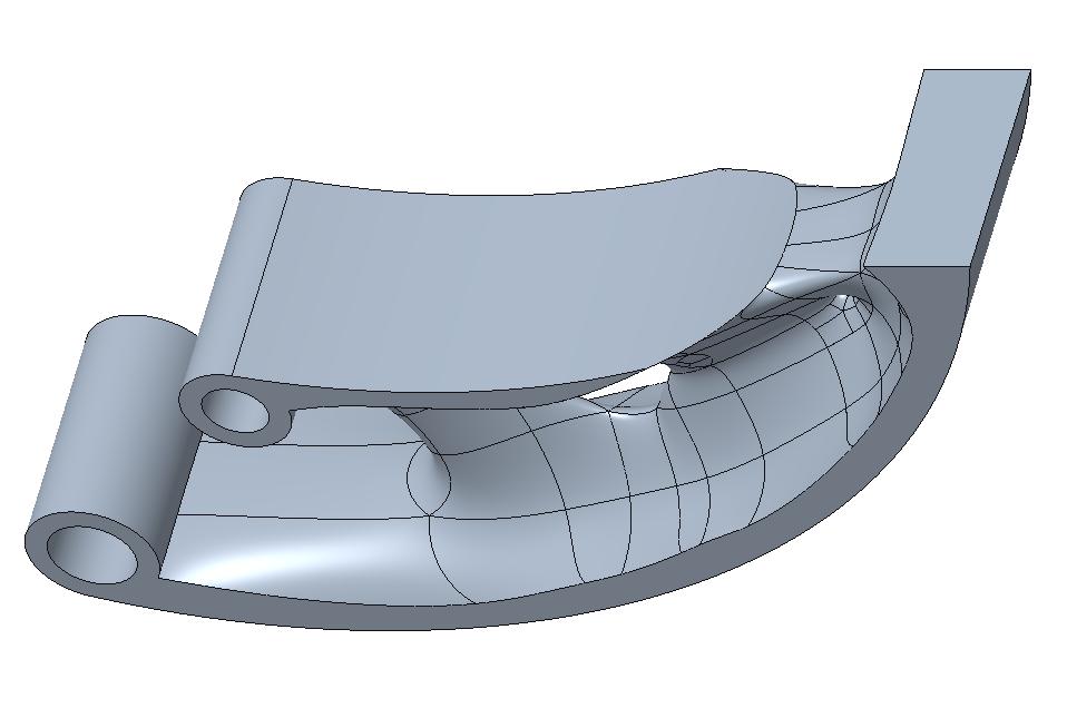 Wynikowy model zoptymalizowany zamieniony na model bryłowy za pomocą funkcji Freestyle.