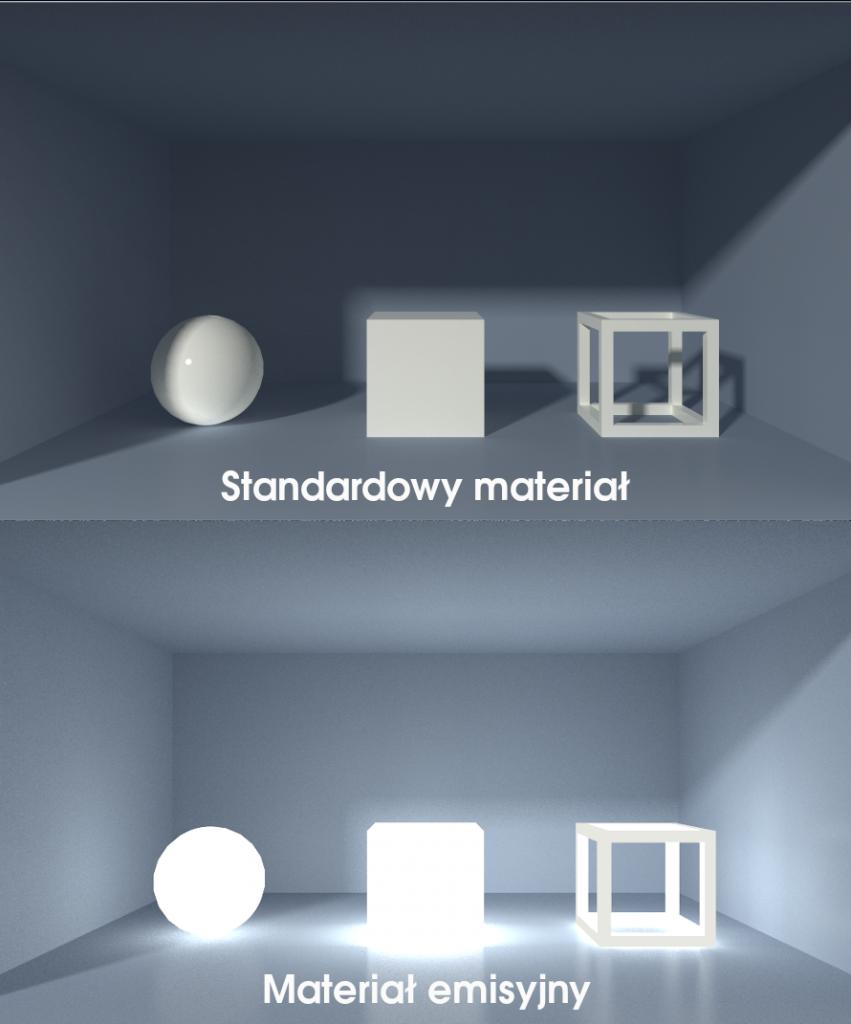 Porównanie materiału standardowego z materiałem emisyjnym z Creo 6.0
