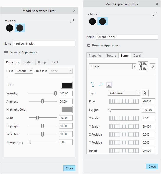 Okna ustawień właściwości materiału w Creo Parametric