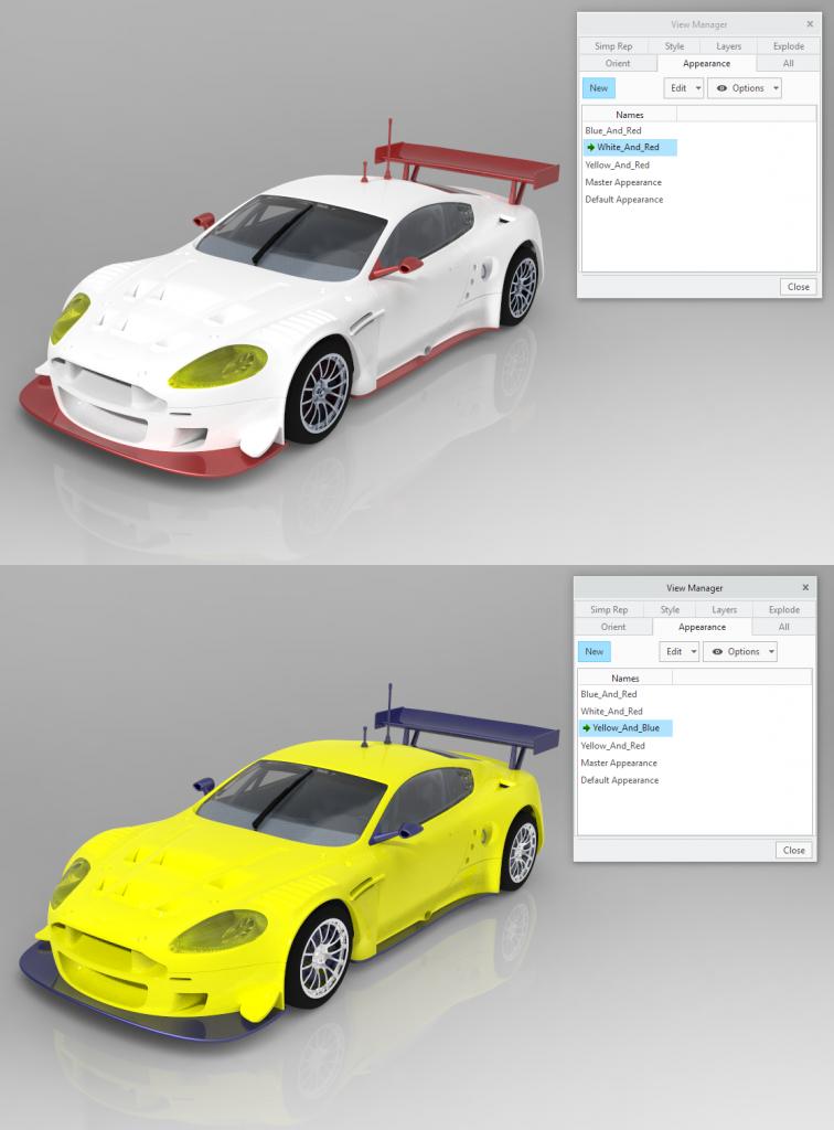 Renderowanie różnych ustawień wyglądu w Creo Render Studio