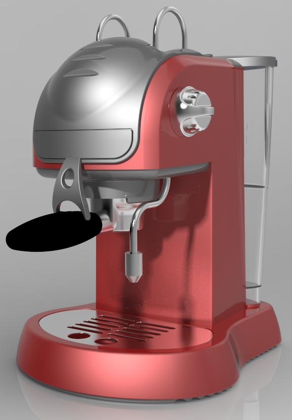 Realistyczna wizualizacja ekspresu do kawy przygotowana w Creo Render Studio