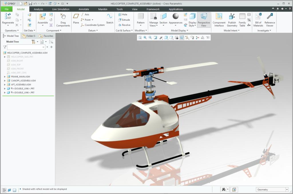 Grafika przedstawiająca model gotowego zespołu helikoptera.
