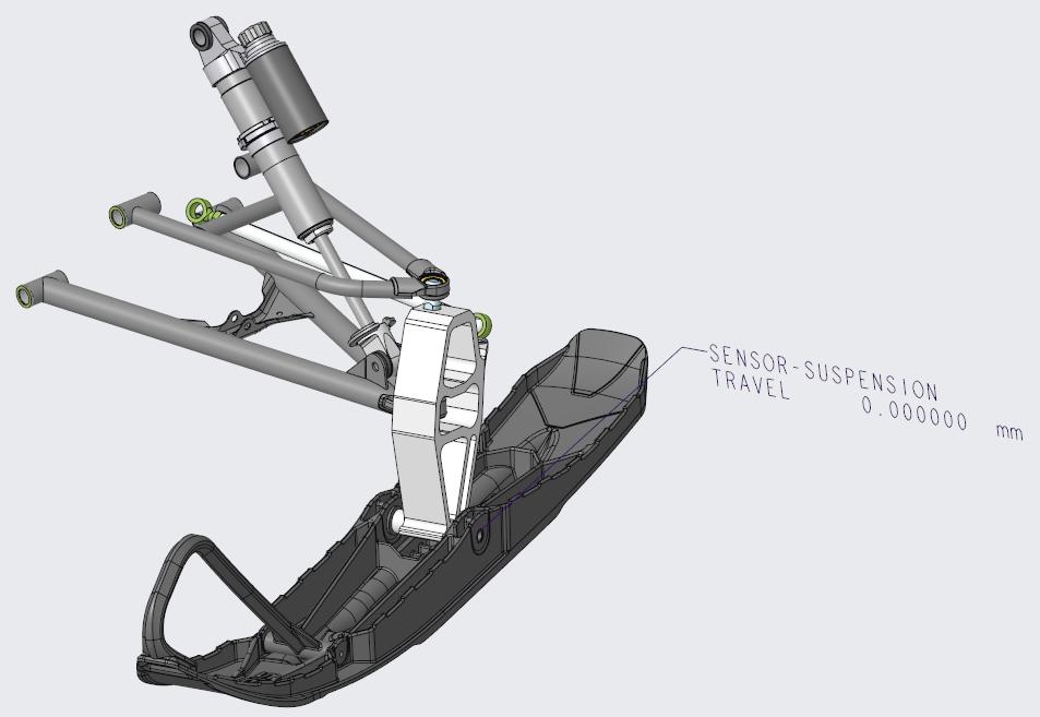 Grafika przedstawiająca zespół zawieszenia skutera śnieżnego z wstawionym czujnikiem fizycznym.