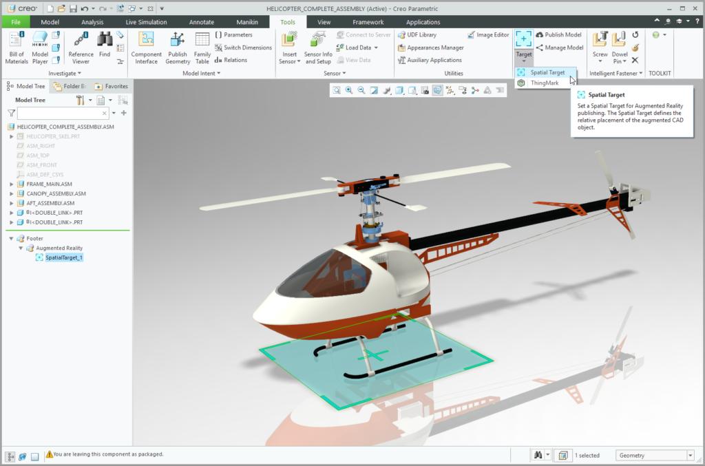 Grafika przedstawiająca model Creo ze wstawioną tarczą przestrzenną.