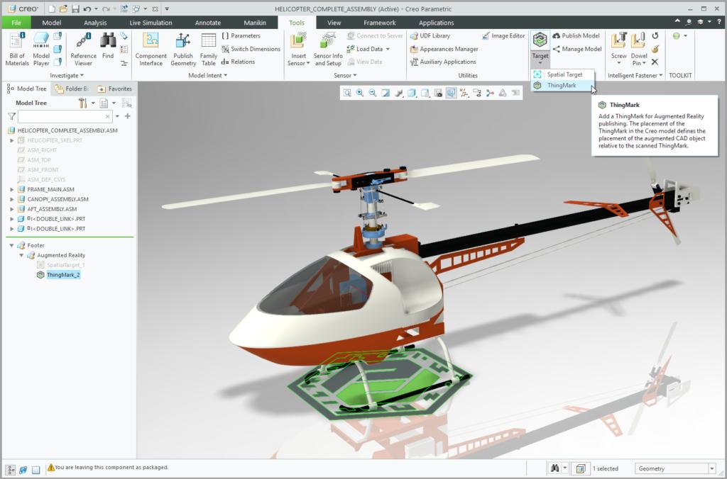 Grafika przedstawiająca model Creo ze wstawionym znacznikiem ThingMark.