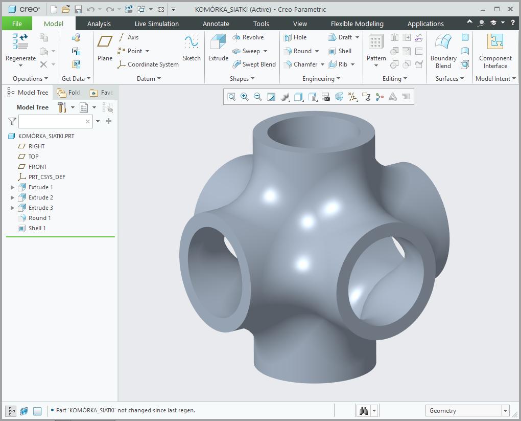 Grafika przedstawiająca model 3D zaprojektowany jako komórka siatki przestrzennej.