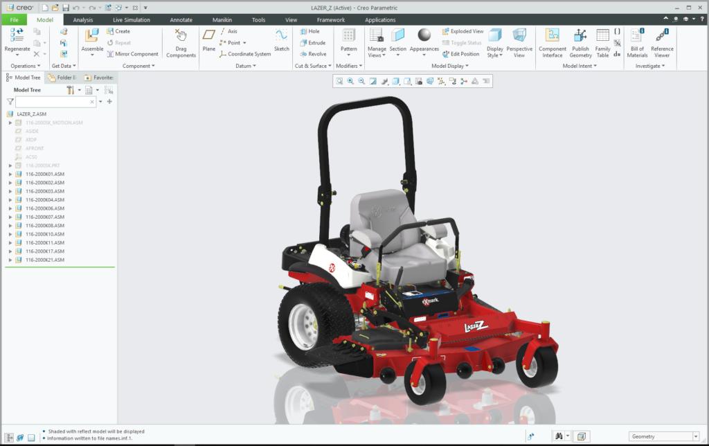Model kosiarki Lazer Z firmy Exmark otwarty w Creo Parametric