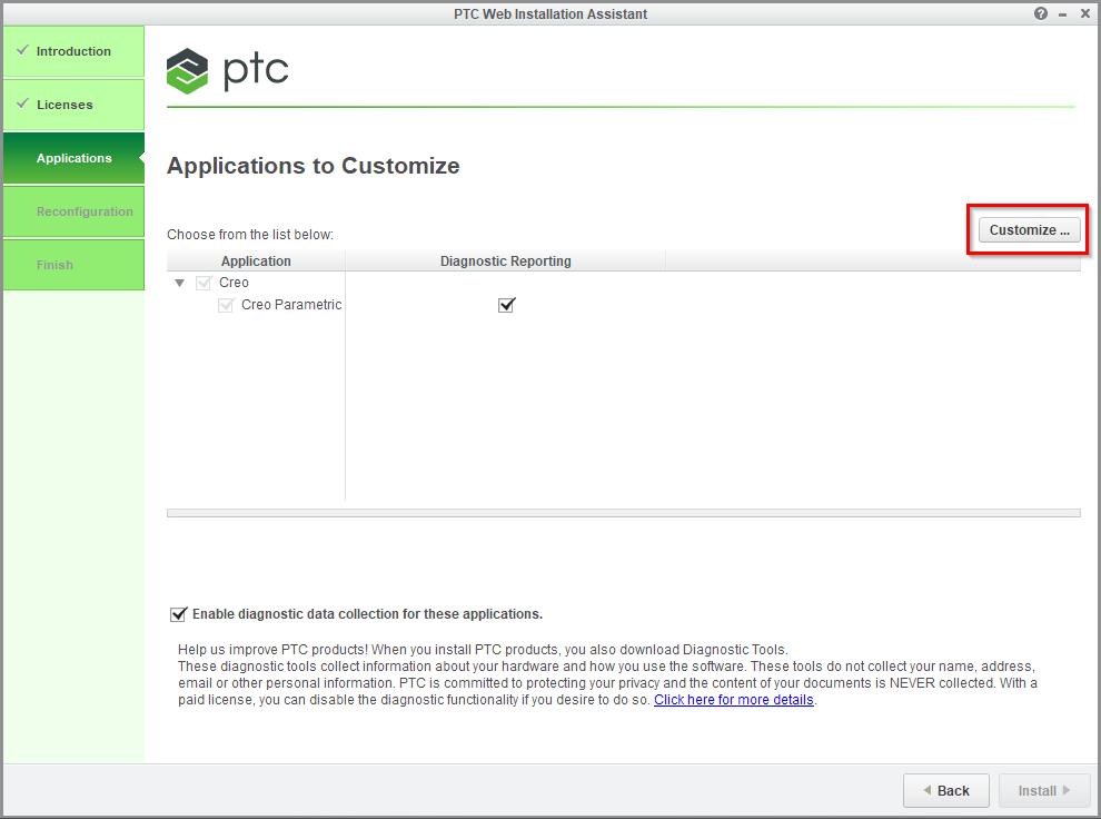 Grafika przedstawiająca okno instalatora Creo Parametric i położenie przycisku Customize