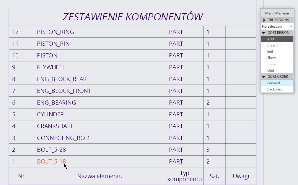Rysunek przedstawiający opcje sortowania regionu powtórzeń w tabeli.