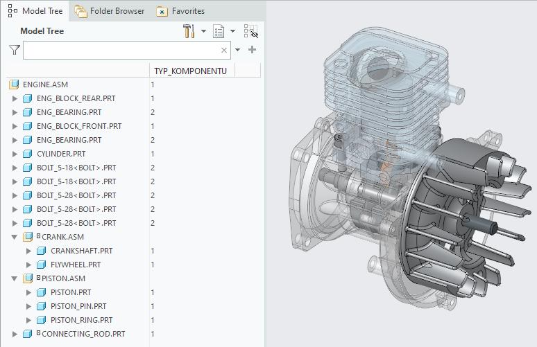 Rysunek przedstawiający modele Creo Parametric ze skonfigurowanym parametrem TYP_KOMPONENTU.