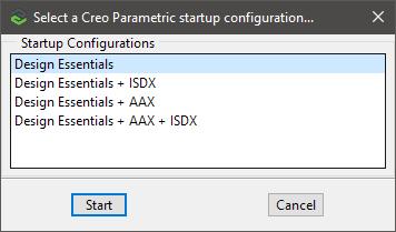 Grafika przedstawiająca okno wyboru konfiguracji licencji podczas uruchamiania Creo Parametric.