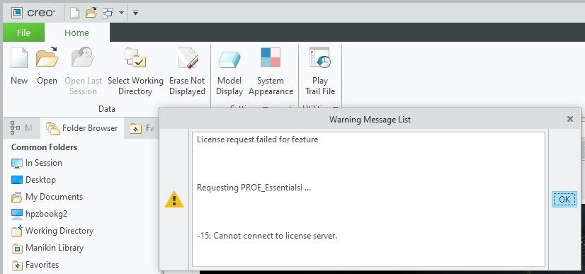 Rysunek pokazujący błąd połączenia Creo Parametric z serwerem licencji, gdy jesteśmy poza siecią.