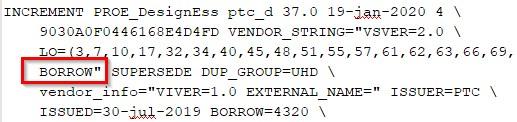 Rysunk przedstawiający fragment przykładowego pliku licencji Creo Parametric zwierającego informację o możliwości wypożyczenia.