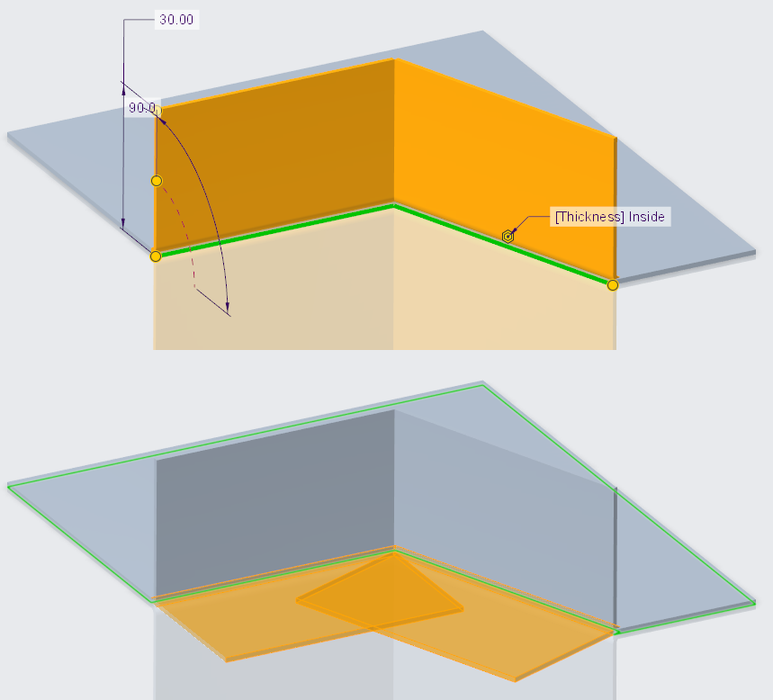 Rysunek przedstawiający definiowanie stykających się pod kątem ścian kołnierzowych w Creo Parametric i ich rozgięcie.