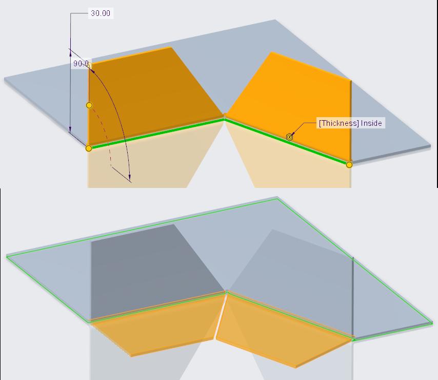 Rysunek przedstawiający poprawnie docięte w Creo Parametric ściany kołnierzowe.