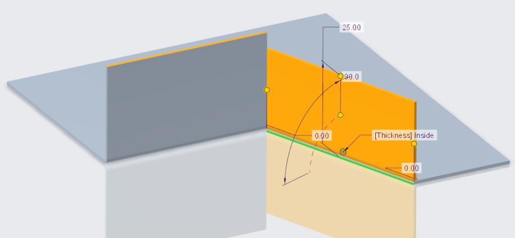 Rysunek przedstawiający dodawanie drugiej ściany płaskiej w modelu blaszanym Creo Parametric.