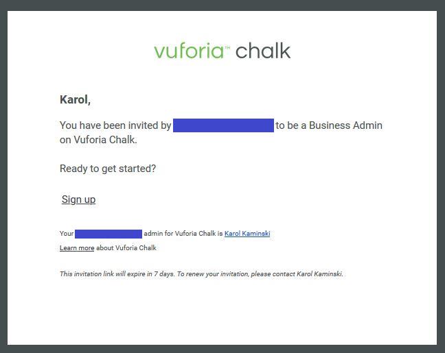 Grafika przedstawiająca e-mail z aproszeniem do administrowania kontem Chalk.