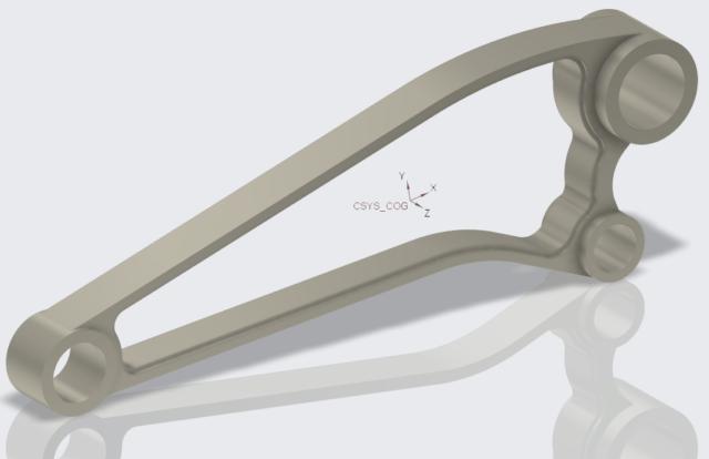 Geometria konstrukcyjna w środku ciężkości modelu Creo Parametric