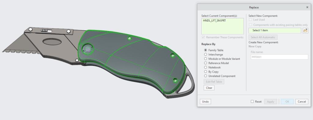 Grafika przedsetawiająca okno zastępowania komponentu w Creo Parametric