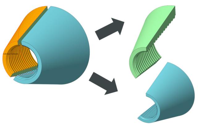 Wydzielanie komponentów z modelu wieloobiektowego w Creo Parametric 7.0