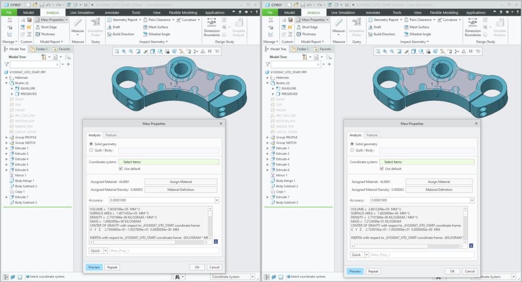 Grafika przedstawiająca porównanie mas modelu Creo 7.0 przed i po zdefiniowaniu obiektu konstrukcyjnego.
