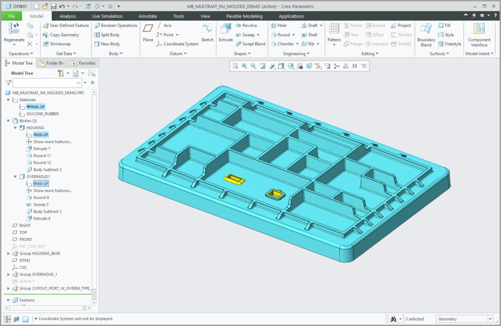 Grafika przedstawiająca obiekty w modelu Creo Paramtric 7.0 używające tego samego materiału, co bazowa część.