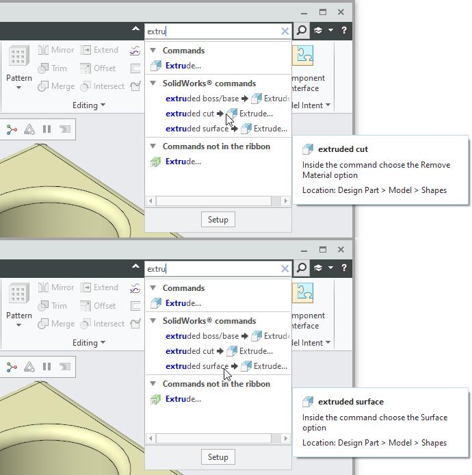 Grafika przedstawiająca podpowiedzi do wyników wyszukiwania operacji SolidWorks w wyszukiwarce Creo Parametric.