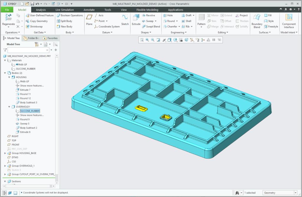 Grafika przedstawiająca obiekt wewnątrz modelu Creo Parametric 7.0 z przypisanym innym materiałem niż materiał głównej części.