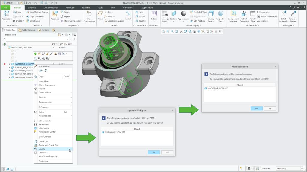 Grafika przedstawiająca proces aktualizowania modelu CAD bezpośrednio w sesji Creo Parametric.