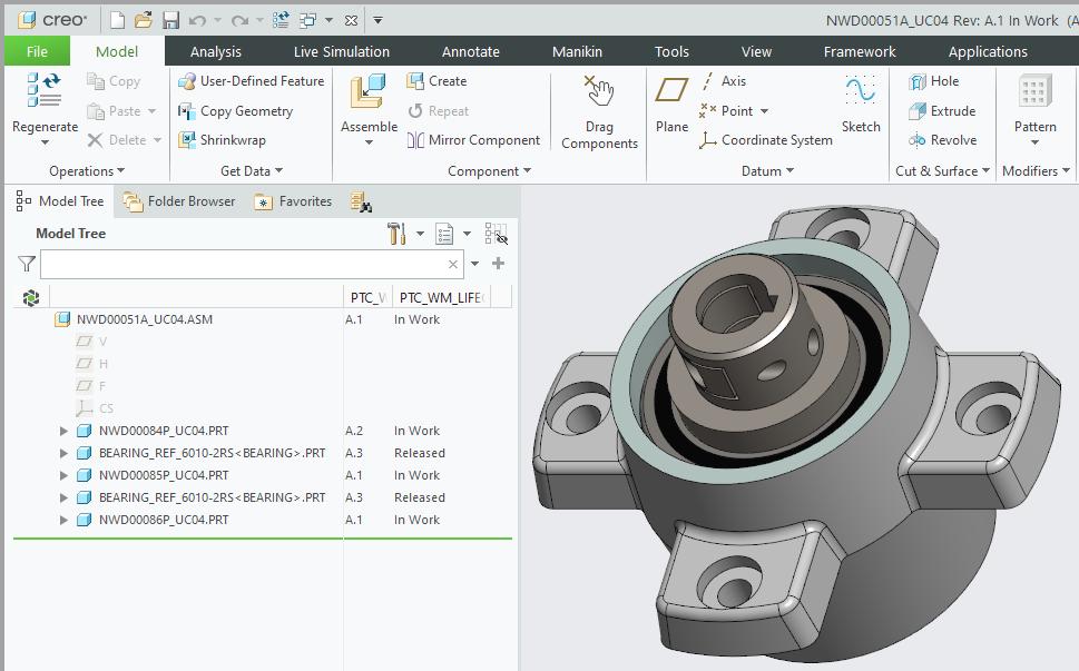 Grafika przedstawiająca zaktualizowany model CAD w sesji Creo Parametric.