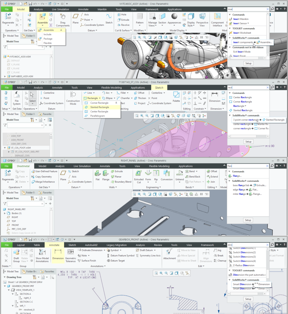 Grafika przedstawiająca wyszukiwanie poleceń SolidWorks w różnych trybach pracy Creo Parametric.
