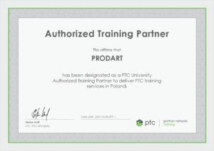 Certyfikat partnera szkoleniowego PTC dla firmy Prodart