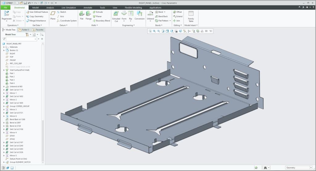 Grafika przedstawiająca interfejs środowiska projektowania modeli blaszanych w Creo Parametric.