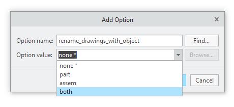 Okno ustawiania wartości opcji konfiguracyjnej rename_drawings_with_object.