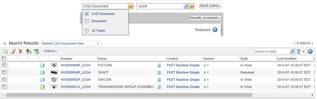 Grgafika przedstawiająca zapytanie prostego wyszukiwania w systemie Windchill i jego wyniki.