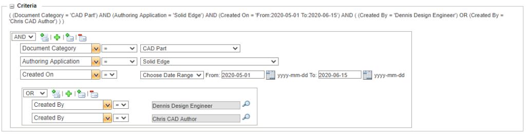 Grafika przedstawiająca zaawansowane kryteria wyszukiwania modeli CAD w systemie WIndchill PDMLink.