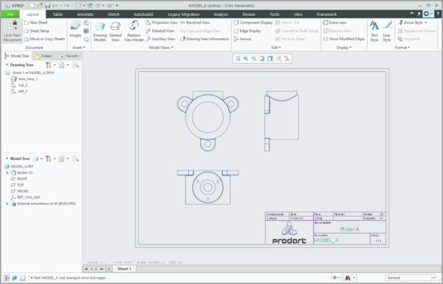 Rysunek Creo Parametric zawierający podstawowe widoki stworzony automatycznie po ustawieniu opcji rename_drawings_with_object.
